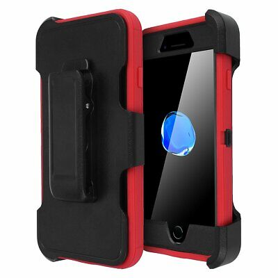 New Red Black Defender Case for iPhone 7 8 Plus Cover-Clip Fits Otterbox