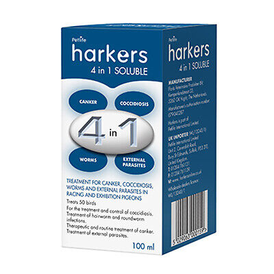 Harkers 4 in 1 Soluble - Treatment for canker worms coccidiosis Racing Pigeons