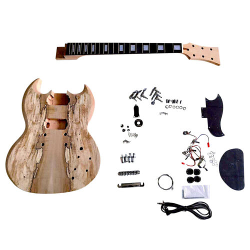 Coban Guitars DIY Guitar kit SG510 Spalted Maple with Chrome Hardware Black Pick