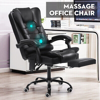 Massage Executive Office Chair Gaming Computer Desk w/ Footrest Recliner Leather
