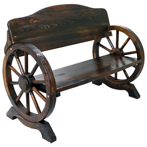 Solid Wood Cart Wagon Wheel Garden Bench Patio Burnt Stained Outdoor Furniture Ebay