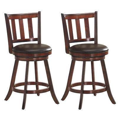 """Set of 2 25"""" Swivel Bar stools Leather Padded Solid Counter"""