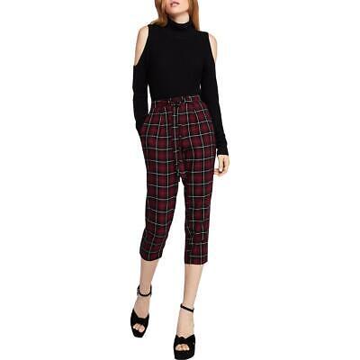BCBGeneration Womens Red Plaid Tie-Waist Work Wear Cropped Pants XS BHFO 4887 Capri Plaid Tie