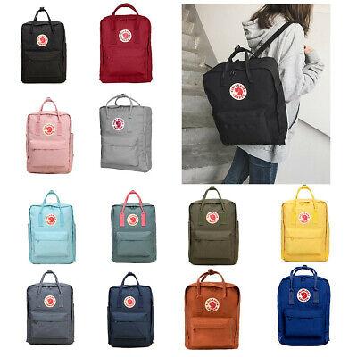 Waterproof Fjallraven Kanken Sport Backpack Canvas Travel Bag Handbag 7L 16L 20L