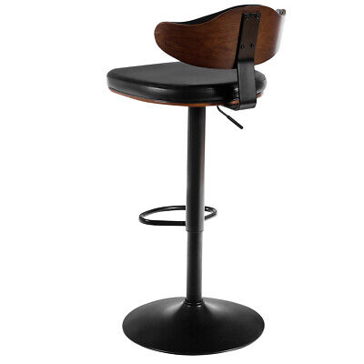 Walnut Bentwood Barstool Height Adjustable Swivel Stool Curved Design Back