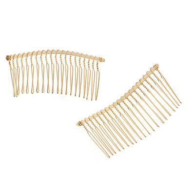 5 Gold Plain Hair Combs Gold Effect 7.8 x 3.8cm Weddings Prom Hair J75799
