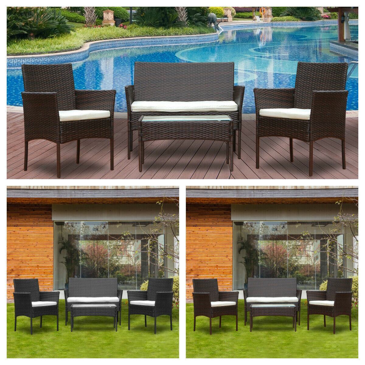 Garden Furniture - 4Pcs Rattan Garden Furniture Sofa Coffee Table Set Chair Outdoor w/ Cushion New