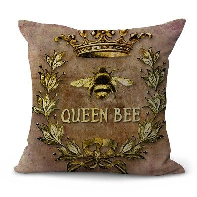US SELLER- decorative couch pillow covers queen bee crown wreath cushion cover