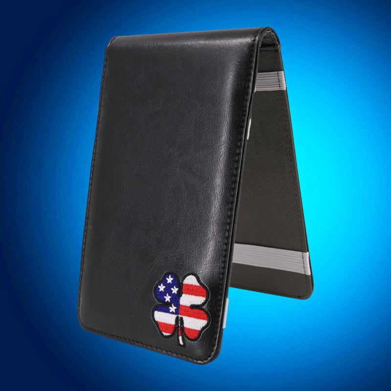 Black Luckey Clover Golf Scorecard&Yardage Book Holder Cover Case For Men