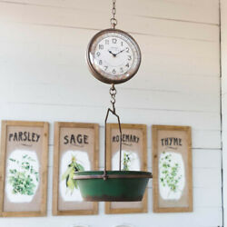 Hanging Kitchen Scale Clock Green Distressed Metal
