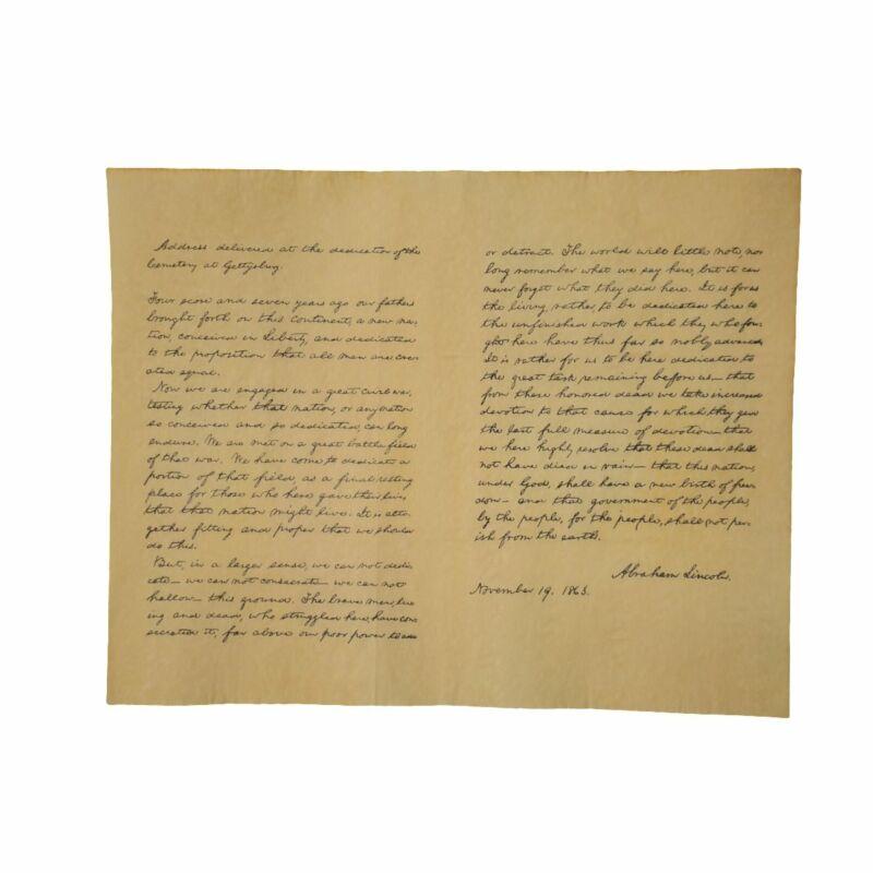 President Abraham Lincoln Gettysburg Address Historical Document 1863 US History
