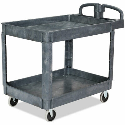 Plastic Utility Service Cart 550 Lbs Capacity 2 Shelves Rolling 43 X 25 X 40