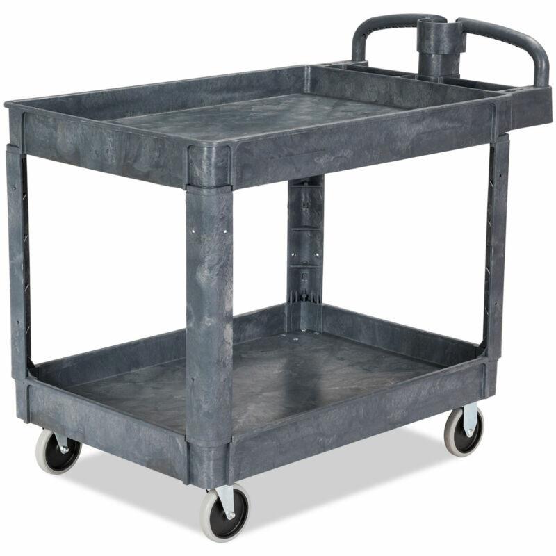 "Plastic Utility Service Cart 550 LBS Capacity 2 Shelves Rolling 43"" x 25"" x 40"""