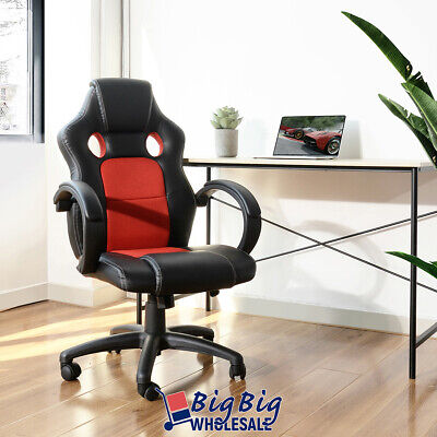 Gaming Racing Leather Office Chair Swivel Ergonomic Computer Desk Seat Blkred