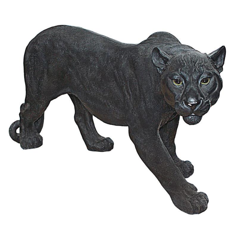 Large: African Wildlife Jungle Stalking Black Panther Sculpture Garden Statue