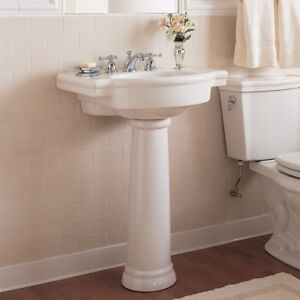 Nib Nice American Standard Bathroom White Pedestal Base Sink Set Retrospect