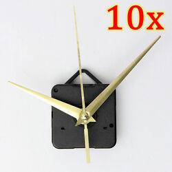 Set Of 10 DIY Wall Quartz Clock Gold Spindle Hand Mechanism Movement Repair Kit