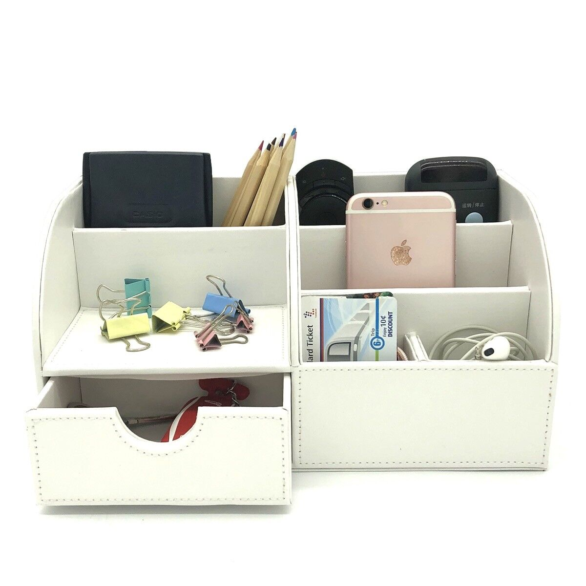 Desk Organizer Box White Desktop Business Card Pen Pencil Ph