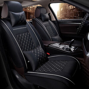 Deluxe Car PU leather Seat Cover Full Front+Rear Cushion 5-Seats W/Pillow Size M