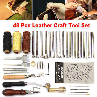 48Pcs Leather Craft Tools Kit Hand Sewing Stitching Punch Carving Work Saddle