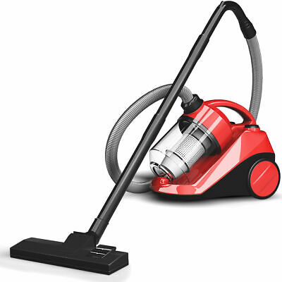 Vacuum Cleaner Canister Bagless Cord Rewind Carpet Hard Floor w Washable Filter