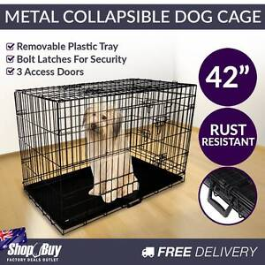"""Free Delivery: 42"""" Foldable Dog Cage Portable Crate Metal Fo Melbourne CBD Melbourne City Preview"""