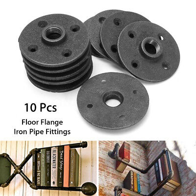 10pcs 12 Black Malleable Threaded Floor Flange Iron Pipe Fittings Wall Mount