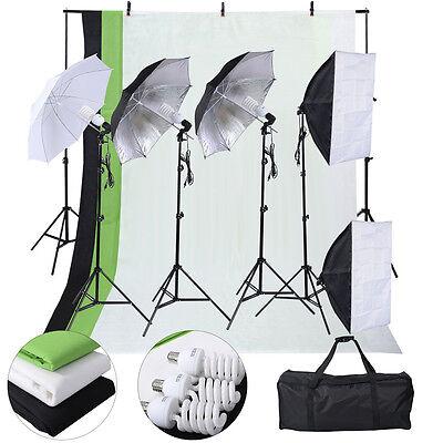 New Photo Studio Photography Kit 4 Light Bulb Umbrella Muslin 3 Backdrop Stand
