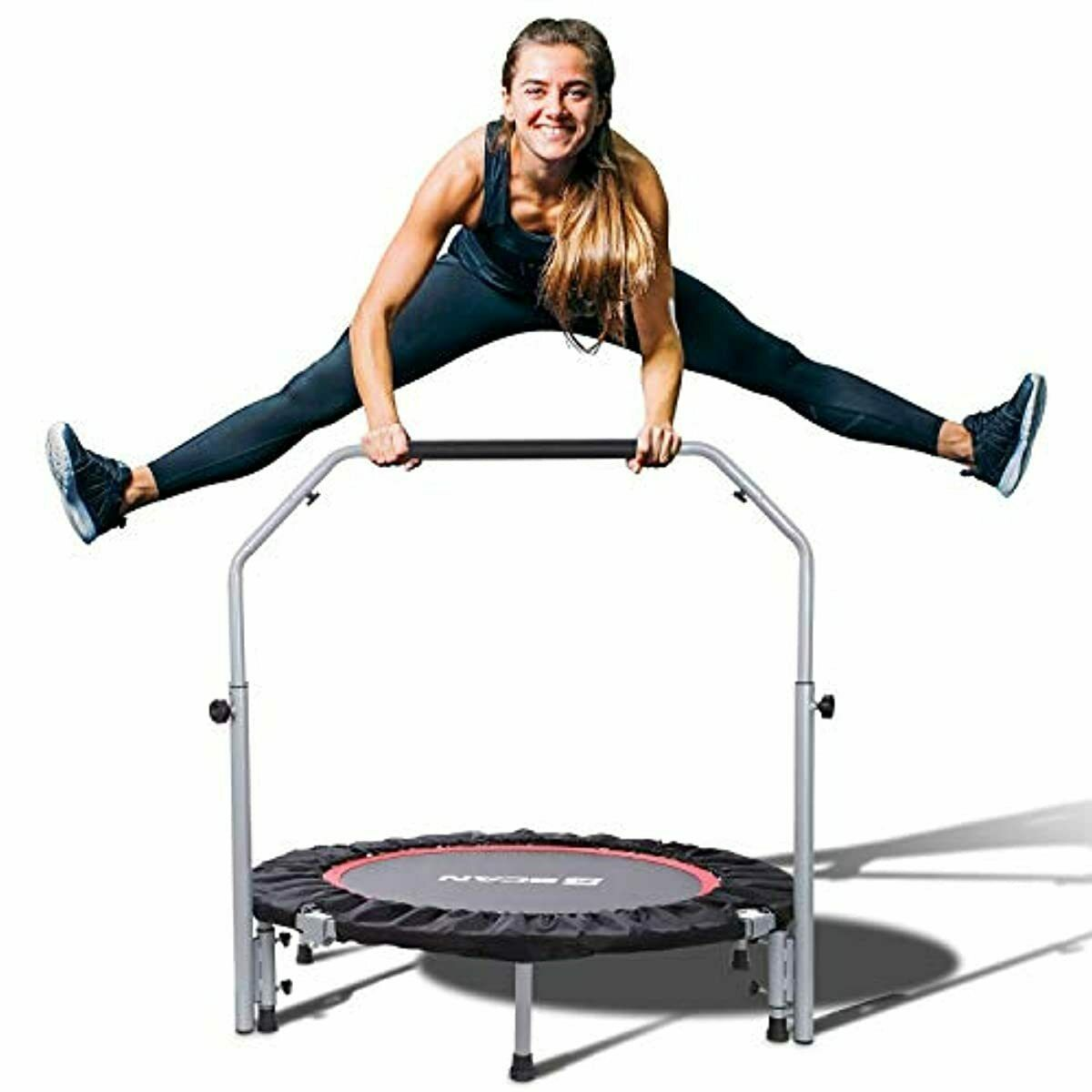 "BCAN 40"" Foldable Mini Trampoline Fitness Rebounder with Adj"