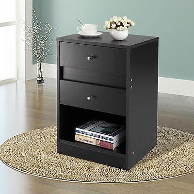 Black End Table Bedroom Furniture  Nightstand Bedside Cabinet  Shelf  2 Drawer