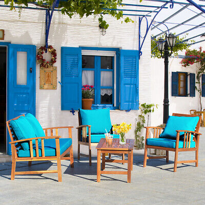 Garden Furniture - 4PCS Wooden Patio Furniture Set Table Sofa Chair Cushioned Garden Turquoise