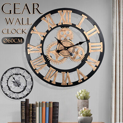 60CM EXTRA LARGE GARDEN ROMAN WALL CLOCK RUSTIC WOODEN GEAR OPEN ROUND FACE HOME