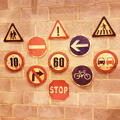 Vintage Industrial Metal Road Traffic Warning Safety Wall Signs Antique Plaques