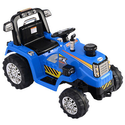 12V Battery Powered Kids Ride On Tractor Electric Toys W  Mp3 Led Lights Blue