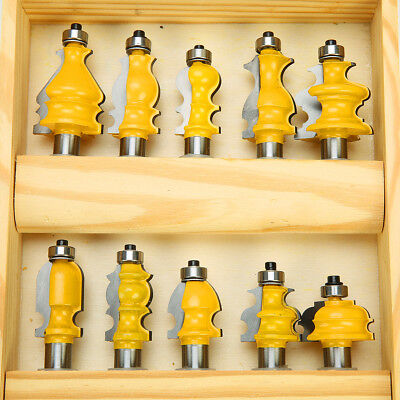- 10 Pc Architectural Molding Router Bit Tungsten Carbide Cutters Set 1/2'' Shank