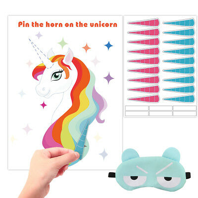Pin the Horn on the Unicorn Birthday Party Game for Kids Party Supply Party - Games For Birthday Parties