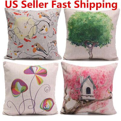 Simple Plant Fresh Cotton Linen Throw Pillow Case Sofa Cushion Covers Home Home & Garden