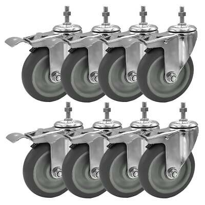 8 Pack 5 Inch Stem Casters Swivel With Brake Grey Pu Caster Wheels