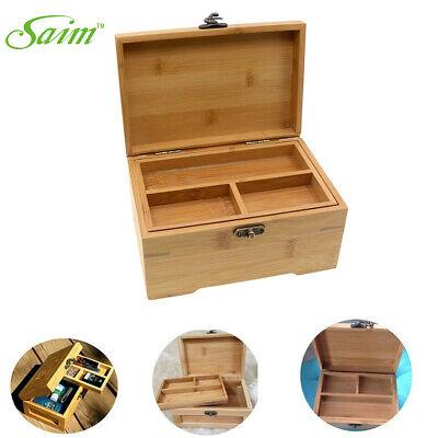 Wooden Jewelry Box with Lock Storage Rings Trinket Case Organizer Gift Vintage