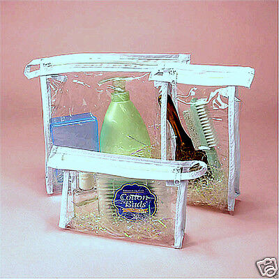 Set Of 3 Clear Soft Vinyl Zipper Cosmetic Travel Cases Bags Pouches