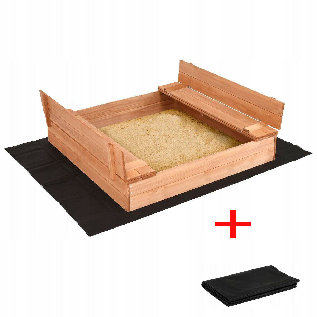 Sandkasten Sandbox mit Deckel SITZBÄNKEN Sandkiste Holz 120x120 150x150 AUSWAHL
