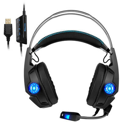 Headphones 4D Stereo Earphones RGB colorful neon light Super Bass Headset Mic