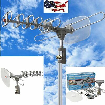 Outdoor 360 Rotation Digital Amplified Antenna TV DTV VHF HDTV UHF HD FM Rotor H