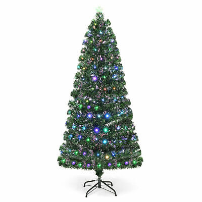 5Ft Fiber Optic Artificial Christmas Tree w/Multi-color LED Lights & Metal Stand ()