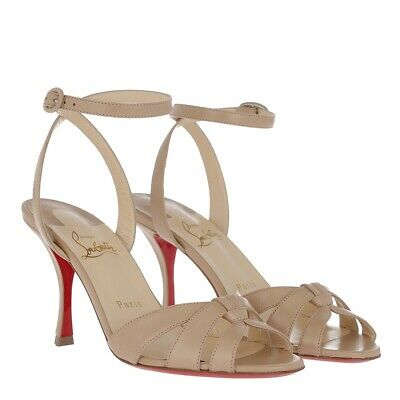 New Christian Louboutin Trezuma 85mm Beige Leather Sandal Pumps 39.5/9US $795.00