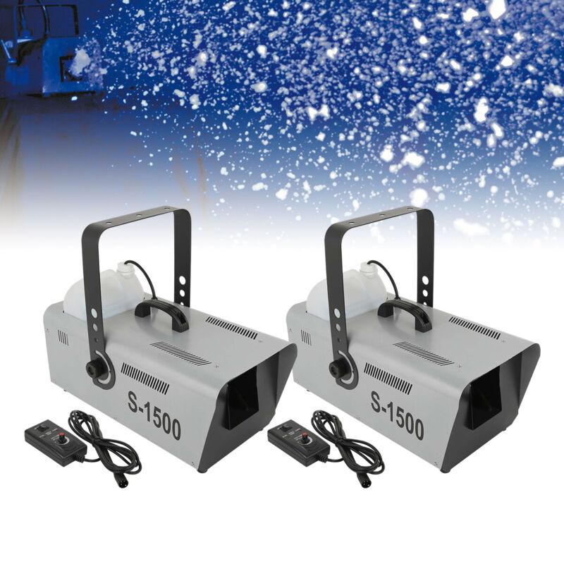 2Pcs 1500W Snow Maker Snowflake Machine Stage 5L Fluid Capacity Show w/Remote