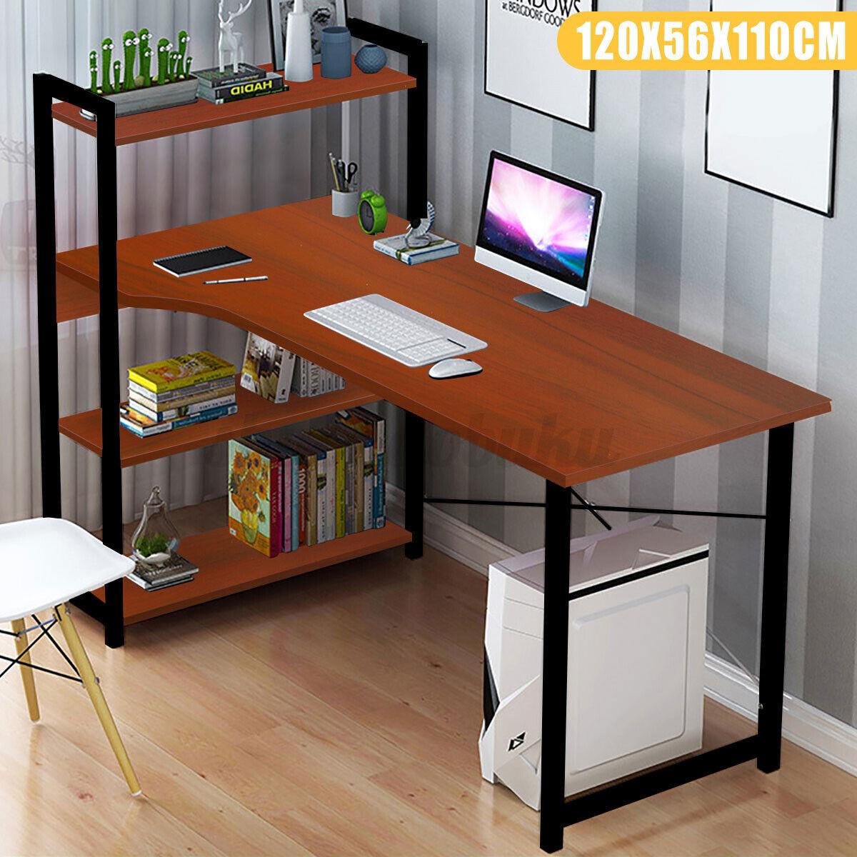 Computer Games - Computer Desk PC Laptop Corner Gaming Table Study Workstation Home Office Shelf