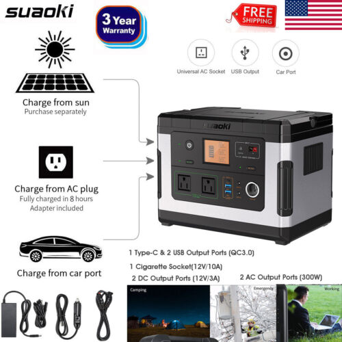 Portable 500Wh Power Station Supply Solar Generator Energy S