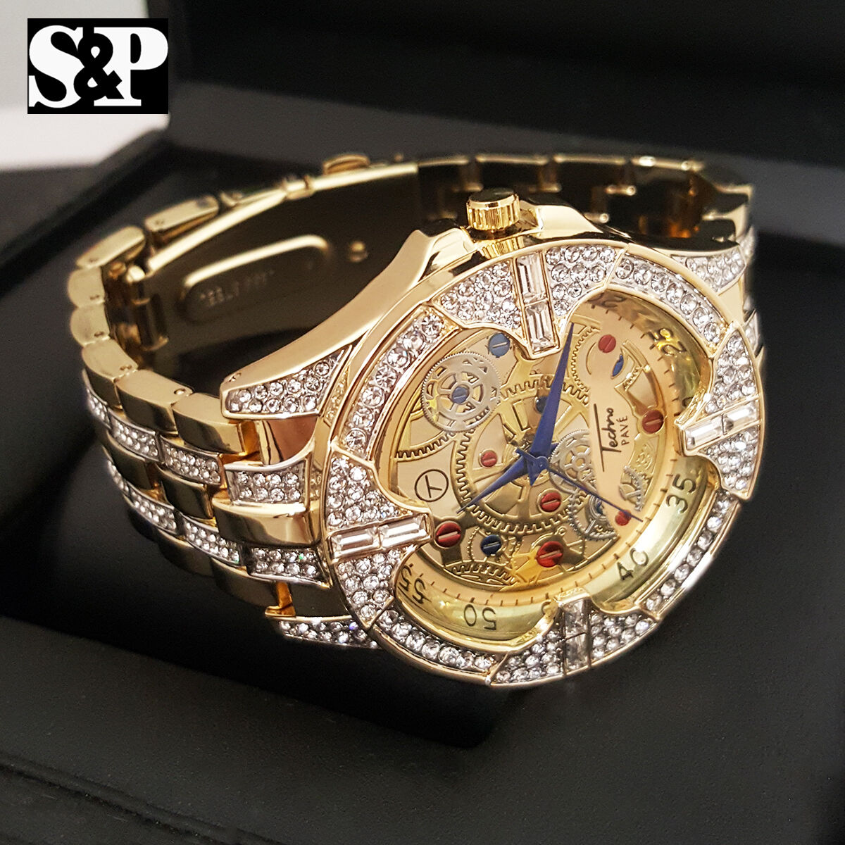 $25.64 - Men Stainless Steel Full Iced Out Bling Hip Hop Lab Diamonds Luxury Dress Watch