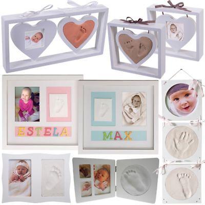 Baby Abdruck mit Bilderrahmen SET Gipsabdruck Kind Hand Fuß Abdruck Foto Rahmen